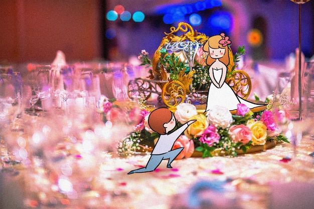 Mariage petit couple: illustration de photographie créative mélangée