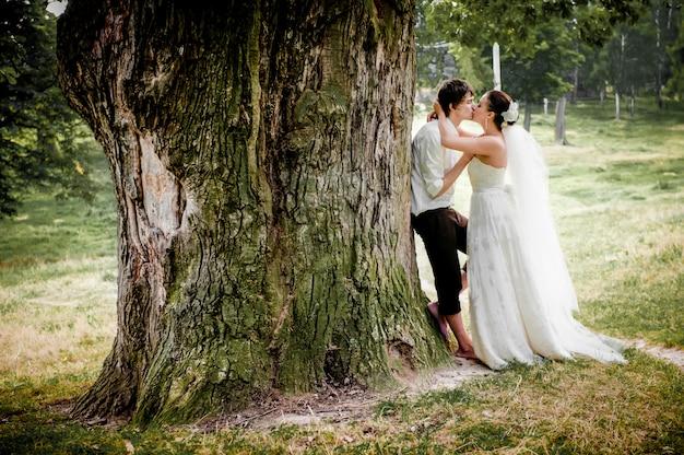 La mariée et le marié près de vieux bois en été
