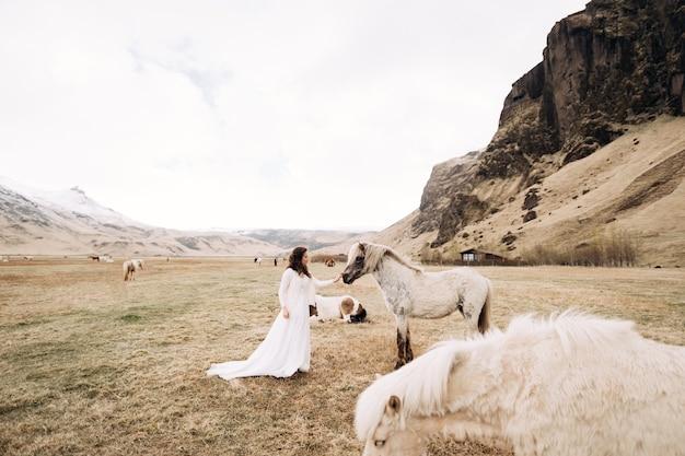 Mariée en robe blanche dans un champ avec des chevaux à destination de la séance photo de mariage en islande