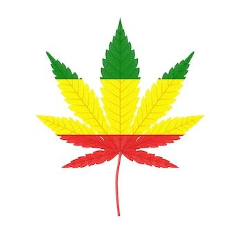 Marijuana médicale ou feuille de chanvre de cannabis avec les couleurs du drapeau rastafarin sur fond blanc. rendu 3d