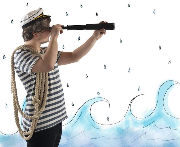 Marin avec le télescope
