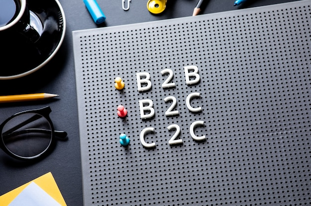 Marketing d'entreprise avec texte b2b, b2c, c2c sur table de bureau