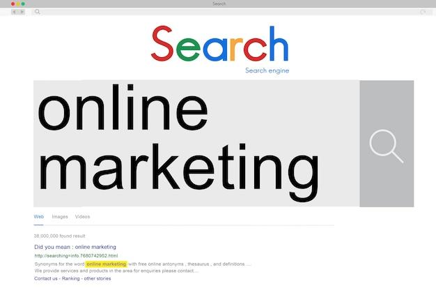 Marketing en ligne publicité branding commerce concept