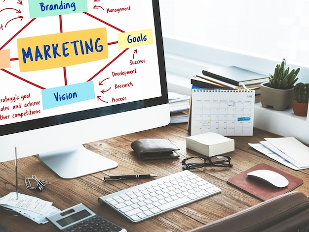 Marketing, marque, planification, vision, objectifs, concept