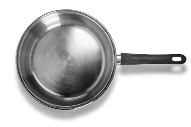 Marmite en acier inoxydable isolé sur fond blanc
