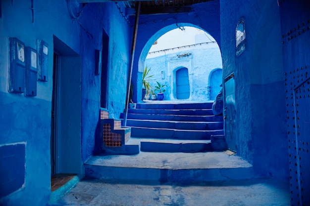 Le maroc est la ville bleue de chefchaouen