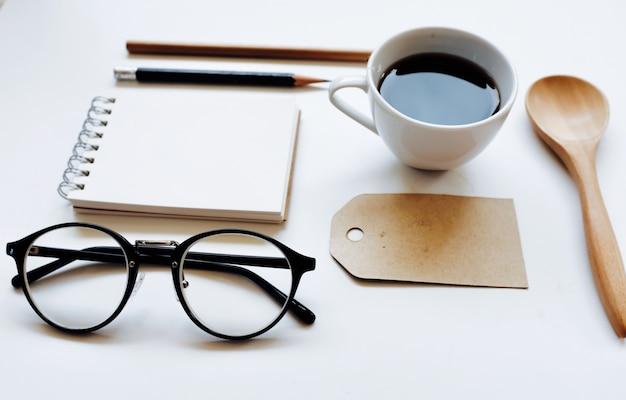 Marque d'identité de café maquette ensemble de la vue de dessus.