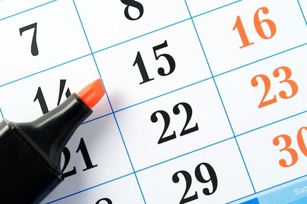 Marqueur et calendrier