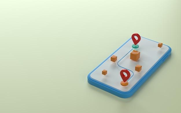 Marqueur de carte ou point d'épingle au-dessus de l'illustration 3d du téléphone