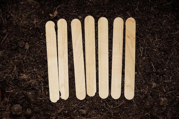Marqueurs de jardin en bois popsicle mis sur le sol