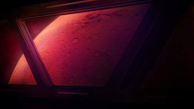 Mars dans les fenêtres d'un vaisseau spatial en approche