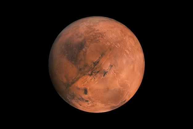 Mars sur fond noir isolé. élément planète mars rouge pour les concepteurs