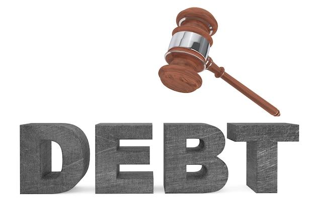 Marteau judiciaire et signe de la dette sur fond blanc