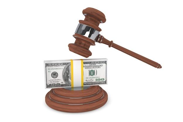 Marteau de juge et cent dollars sur un fond blanc