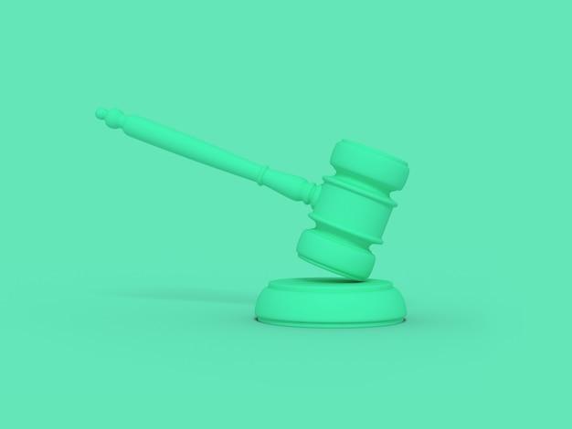 Marteau de juge de dessin animé. illustration sur fond de couleur. rendu 3d.