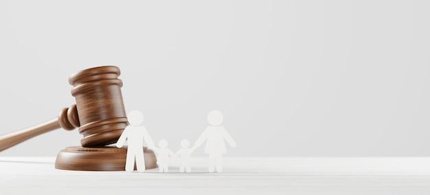 Marteau de juge et famille humaine d'icône sur le fond en bois. droit de la famille ou divorce, légalité, concept d'adoption. illustration 3d