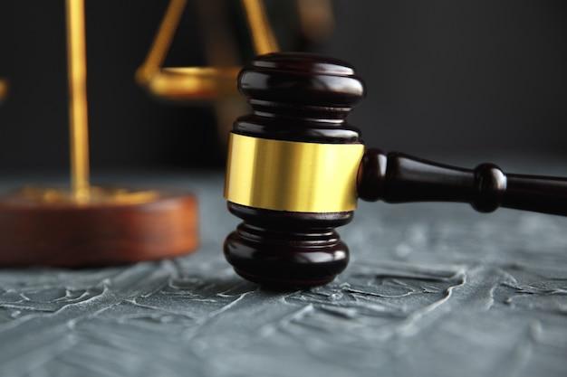 Marteau de juge et livre juridique sur le concept de table en bois, de justice et de droit