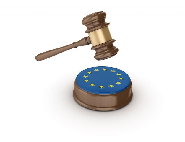 Marteau juridique avec drapeau européen