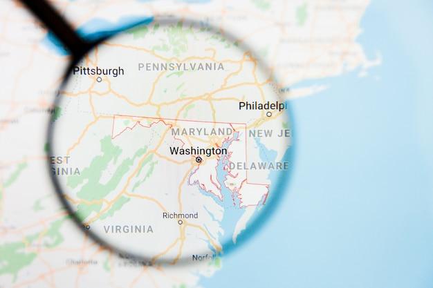 Maryland, md state of america visualisation illustration concept sur écran d'affichage à travers la loupe