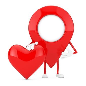 Mascotte de caractère de broche de pointeur de carte avec le coeur rouge sur un fond blanc. rendu 3d