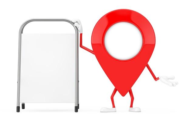 Mascotte de caractère de broche de pointeur de carte avec le support de promotion de publicité vide blanc sur un fond blanc. rendu 3d