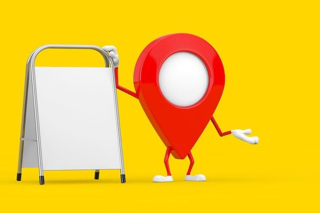 Mascotte de caractère de broche de pointeur de carte avec le support de promotion de publicité vide blanc sur un fond jaune. rendu 3d