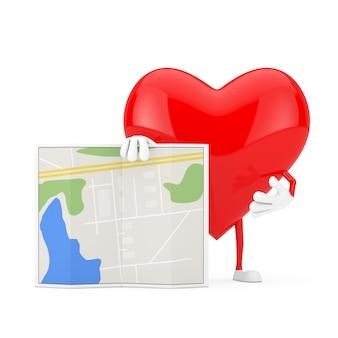 Mascotte de caractère coeur rouge avec carte de plan de ville abstraite sur fond blanc. rendu 3d