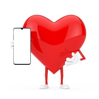 Mascotte de caractère coeur rouge et téléphone mobile moderne avec écran blanc pour votre conception sur fond blanc. rendu 3d