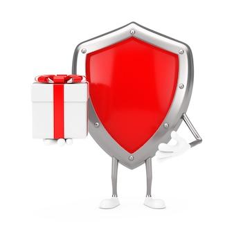 Mascotte de personnage de bouclier de protection en métal rouge avec boîte-cadeau et ruban rouge sur fond blanc. rendu 3d
