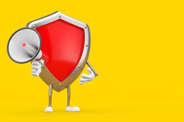 Mascotte de personnage de bouclier de protection en métal rouge avec mégaphone rétro rouge sur fond jaune. rendu 3d