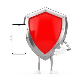 Mascotte de personnage de bouclier de protection en métal rouge et téléphone portable moderne avec écran blanc pour votre conception sur fond blanc. rendu 3d