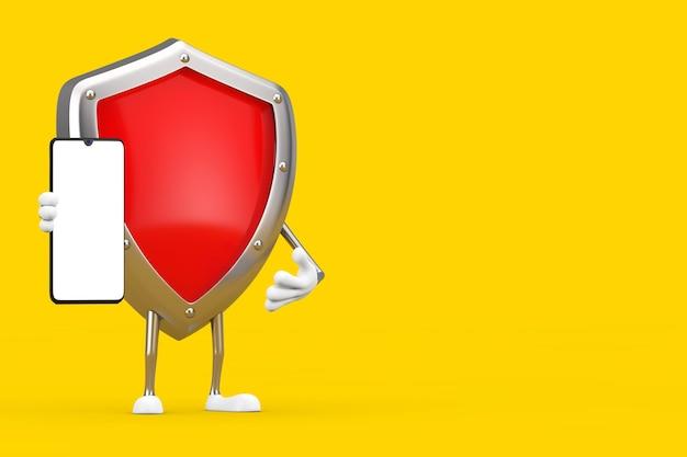 Mascotte de personnage de bouclier de protection en métal rouge et téléphone portable moderne avec écran blanc pour votre conception sur fond jaune. rendu 3d