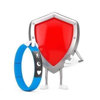 Mascotte de personnage de bouclier de protection en métal rouge avec un tracker de fitness bleu sur fond blanc. rendu 3d