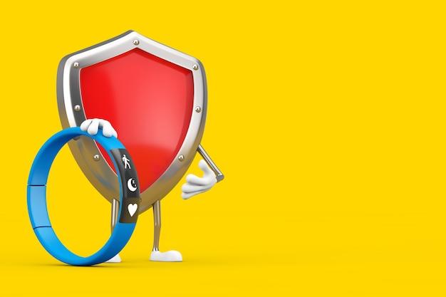 Mascotte de personnage de bouclier de protection en métal rouge avec un tracker de fitness bleu sur fond jaune. rendu 3d