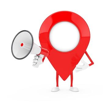 Mascotte de personnage de broche de pointeur de carte avec un mégaphone rétro rouge sur fond blanc. rendu 3d