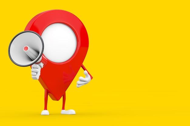 Mascotte de personnage de broche de pointeur de carte avec un mégaphone rétro rouge sur fond jaune. rendu 3d