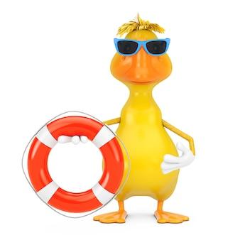 Mascotte de personnage de canard de dessin animé jaune mignon avec bouée de sauvetage sur fond blanc. rendu 3d