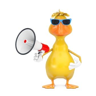 Mascotte de personnage de canard de dessin animé jaune mignon avec mégaphone rétro rouge sur fond blanc. rendu 3d