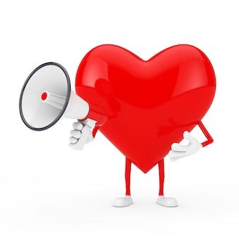 Mascotte de personnage coeur rouge avec mégaphone rétro rouge sur fond blanc. rendu 3d