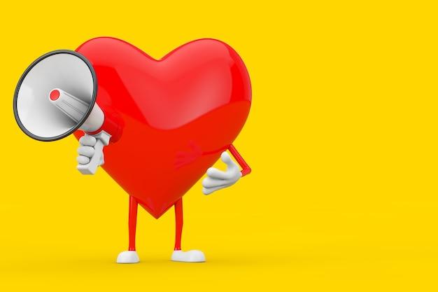 Mascotte de personnage coeur rouge avec mégaphone rétro rouge sur fond jaune. rendu 3d