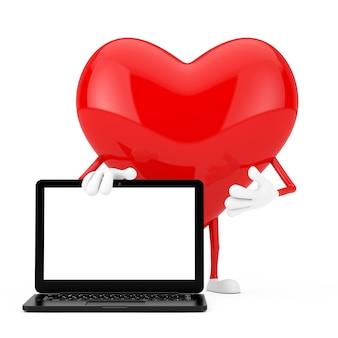 Mascotte de personnage de coeur rouge et ordinateur portable moderne avec écran blanc pour votre conception sur fond blanc. rendu 3d