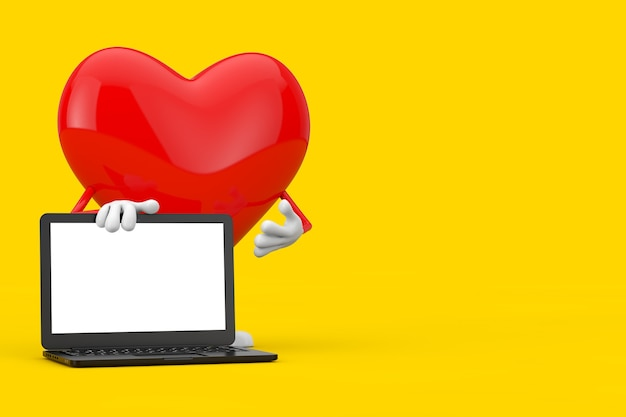 Mascotte de personnage de coeur rouge et ordinateur portable moderne avec écran blanc pour votre conception sur fond jaune. rendu 3d
