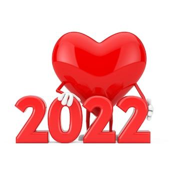 Mascotte de personnage coeur rouge avec signe du nouvel an 2022 sur fond blanc. rendu 3d
