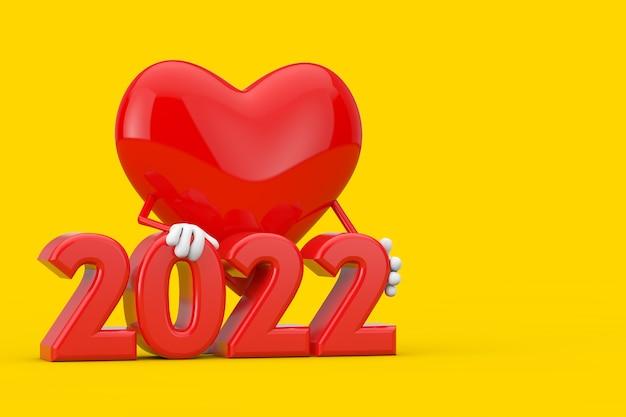 Mascotte de personnage coeur rouge avec signe du nouvel an 2022 sur fond jaune. rendu 3d
