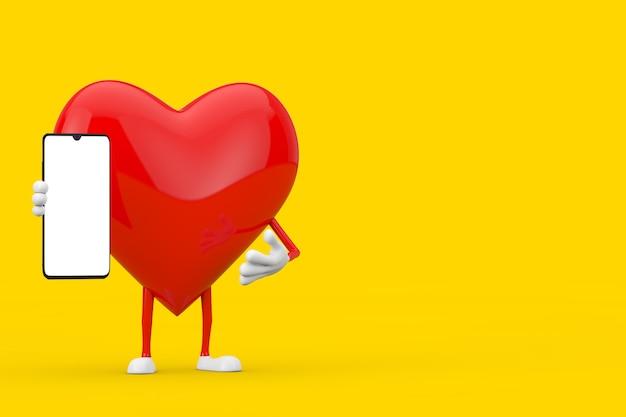 Mascotte de personnage de coeur rouge et téléphone portable moderne avec écran blanc pour votre conception sur fond jaune. rendu 3d