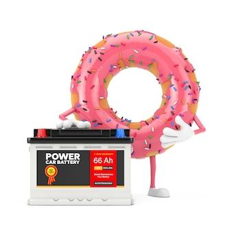Mascotte de personnage de donut glacé rose fraise et accumulateur de batterie de voiture rechargeable 12v avec étiquette abstraite sur fond blanc. rendu 3d