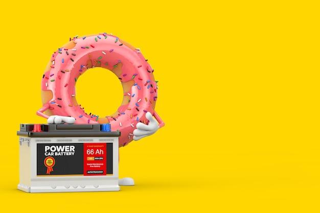 Mascotte de personnage de donut glacé rose fraise et accumulateur de batterie de voiture rechargeable 12v avec étiquette abstraite sur fond jaune. rendu 3d