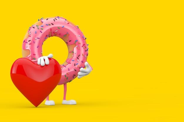 Mascotte de personnage donut glacé rose gros fraise avec coeur rouge sur fond jaune. rendu 3d