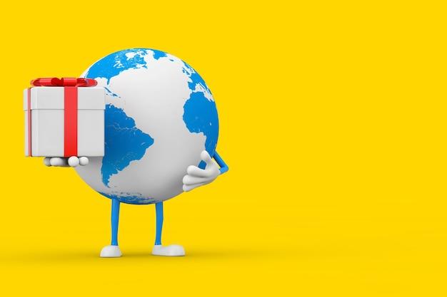 Mascotte de personnage de globe terrestre avec boîte-cadeau et ruban rouge sur fond jaune. rendu 3d