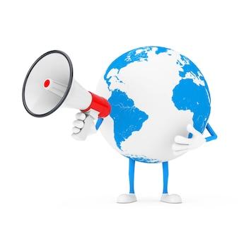 Mascotte de personnage de globe terrestre avec mégaphone rétro rouge sur fond blanc. rendu 3d